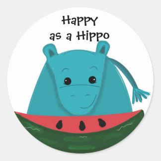 Happy Hippo with Watermelon Slice Classic Round Sticker