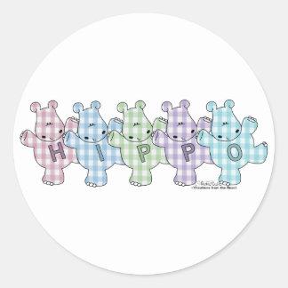 Happy Hippos pastel gingham Classic Round Sticker