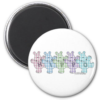 Happy Hippos pastel gingham Magnet