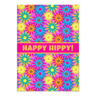 Happy Hippy Birthday 1960s Retro 60th BDay Party Card