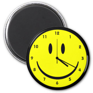 Happy Hippy face clock 2 Inch Round Magnet