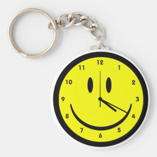 Happy Hippy face clock Basic Round Button Keychain