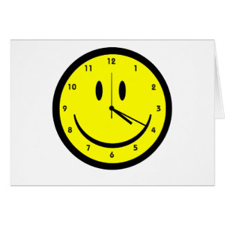 Happy Hippy face clock Card