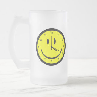 Happy Hippy face clock Frosted Glass Beer Mug