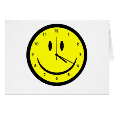 Happy Hippy face clock Greeting Card