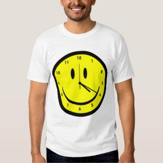Happy Hippy face clock Tee Shirt