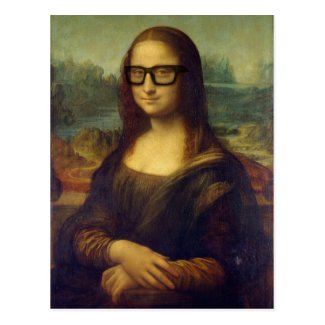 Happy Hipster Mona Lisa in Cool Hipster Glasses