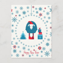 Happy hipster new year,teal,white,red,trendy,fun, holiday postcard
