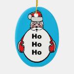 Happy ho ho ho Double-Sided oval ceramic christmas ornament