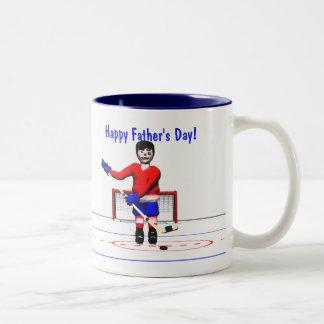 Happy Hockey Father's Day Two-Tone Coffee Mug