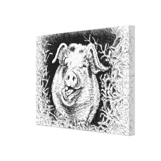 happy hog animal drawing canvas print