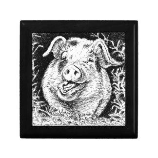 happy hog animal drawing keepsake box
