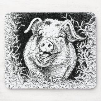 happy hog animal drawing mouse pad