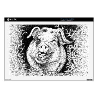 "happy hog animal drawing 17"" laptop decal"