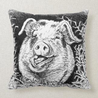 happy hog animal drawing throw pillows