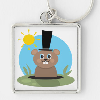 Happy Hog Silver-Colored Square Keychain
