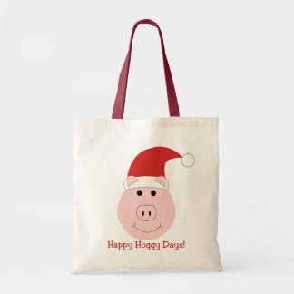 Happy Hoggy Days Christmas Canvas Tote Bag