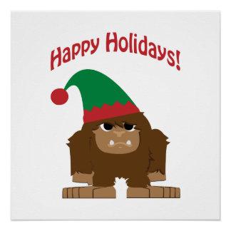 Happy Hokidays! Christmas Bigfoot Poster