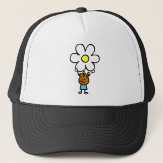 happy holding flower cartoon illustration trucker hat