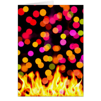 Happy Holi, Flames and Colorful Circles Photograph Card