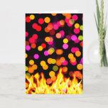 Happy Holi, Flames and Colorful Circles Photograph Holiday Card