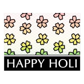 happy holi spring festival postcard