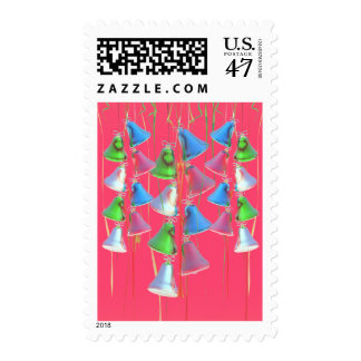 Happy Holiday Bells on Red Postage