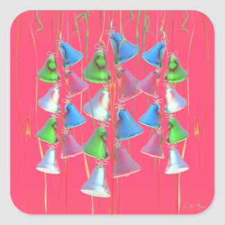 Happy Holiday Bells on Red Square Sticker