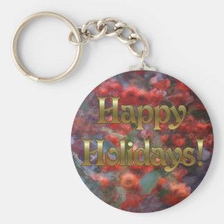 Happy Holiday Berries Basic Round Button Keychain