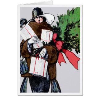 """HAPPY HOLIDAY BLEND"" VINTAGE ART DECO SHOPPER CARD"
