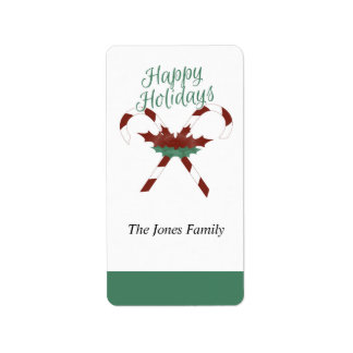 Happy Holiday Candy Cane Gift Label - Sticker
