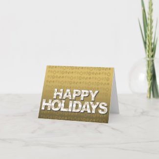 Happy Holiday Card Ornament Icon Gold card