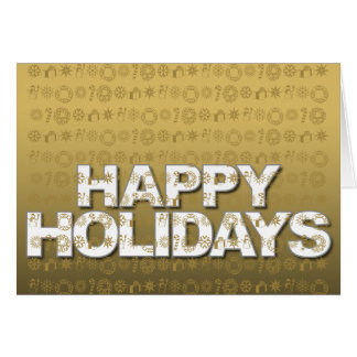 Happy Holiday Card Ornament Icon Gold