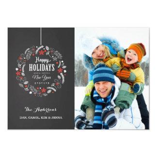 HAPPY HOLIDAY CHALKBOARD  WREATH PHOTO CARD