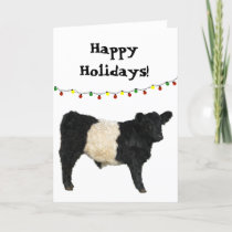 Happy Holiday Christmas Belted Galloway Beltie Cow Card