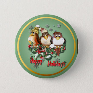 Happy Holiday Christmas Birds Button