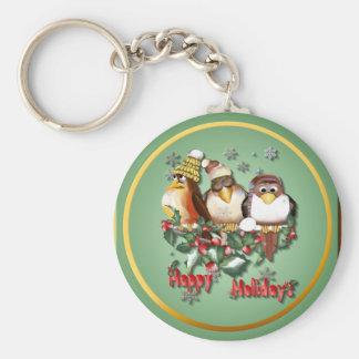 Happy Holiday Christmas Birds Keychains