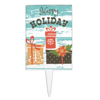 Happy Holiday Christmas Holiday Presents Cake Topper
