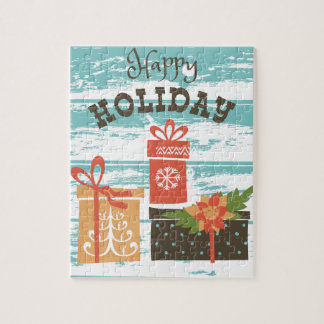 Happy Holiday Christmas Holiday Presents Jigsaw Puzzle
