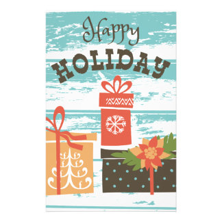 Happy Holiday Christmas Holiday Presents Stationery