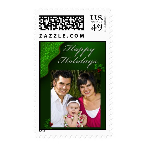 Happy Holiday Christmas photo card template Postage Stamps