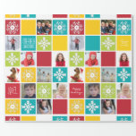 "Happy Holiday Christmas Photo Wrapping Paper<br><div class=""desc"">Personalize your gift giving this year with photo wrapping paper that features your family as part of the design. Create a collage of snowflakes, Holiday wishes, and family photos in this collage paper. Festive and fun color blocks of red, green, teal and yellow are interspersed with photos of you, your...</div>"