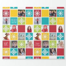 Happy Holiday Christmas Photo Wrapping Paper
