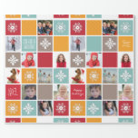 "Happy Holiday Christmas Photo Wrapping Paper<br><div class=""desc"">Personalize your gift giving this year with photo wrapping paper that features your family as part of the design. Create a collage of snowflakes, Holiday wishes, and family photos in this collage paper. Vintage, retro shades of teal, red, gold and mocha are interspersed with photos of you, your child, your...</div>"