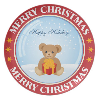 Happy Holiday Christmas Snowball with Cute Bear Plate