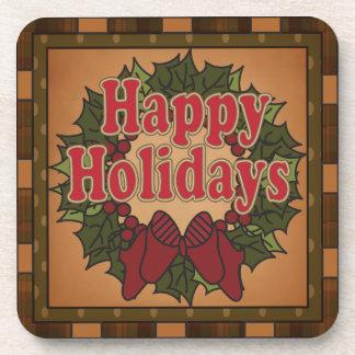 Happy Holiday Christmas Wreath Coasters