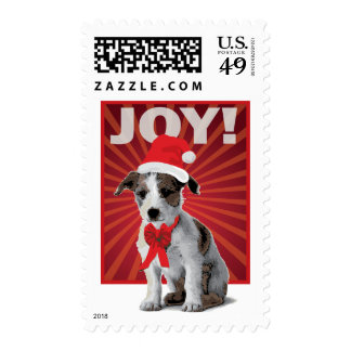 Happy Holiday Dog - Jack Russell Santa Stamp