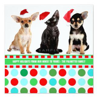 Happy Holiday Dots Personalized Christmas Photo Custom Invite