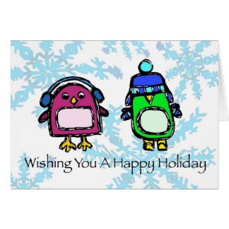 happy holiday - earmuffs & hat penguins card