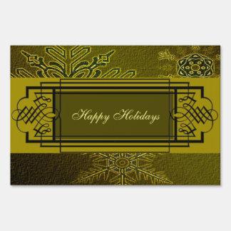 Happy Holiday Elegant Snowflakes Sign